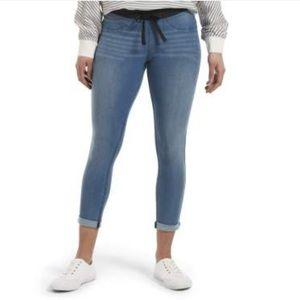Hue Sweatshirt Denim Cuffed Capri Leggings Size XS